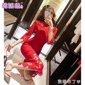 韓語琳秋季女裝裙子韓版性感氣質勾花鏤空蕾絲連衣裙長裙禮服 焦糖布丁