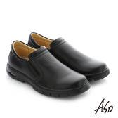 A.S.O 挺力氣墊 真皮直套式鬆緊帶機能休閒鞋 黑
