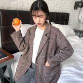 秋裝女裝韓版寬鬆復古英倫格紋一粒扣大翻領西裝學生長袖休閒外套  西城故事