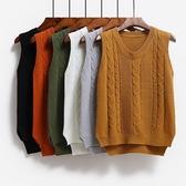 春秋冬韓版新款毛衣馬甲女學院風短款無袖套頭針織毛線背心『快速出貨』