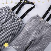 小紳士經典千鳥格紋吊帶褲短褲(可拆式吊帶)(250236)★水娃娃時尚童裝★