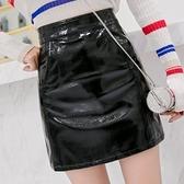 皮裙-亮面時尚簡約高腰包臀女短裙2色73tm1【巴黎精品】