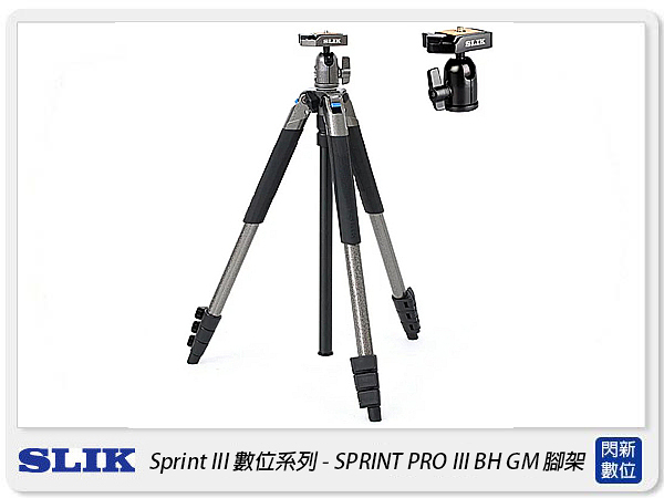 SLIK SPRINT PRO III BH GM 三腳架 SBH-100DQ 雲台 鐵灰(PRO3,公司貨)