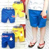 【韓版童裝】微彈力側鯊魚口袋造型中長外出褲/休閒褲-藍/黃【BD17032704】