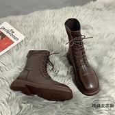 方頭瘦瘦靴單靴春秋冬馬丁靴女英倫風短靴騎士靴子【時尚大衣櫥】