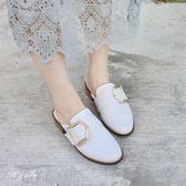 真皮休閒鞋-R&BB牛皮*金釦紳士拖簡約低跟鞋-黑/白色