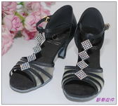 節奏皮件~國標舞鞋拉丁鞋款編號A0225 緞面鑲鑽舞鞋黑
