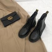 ins顯腿長草雞棒的8孔馬丁靴新品韓版百搭春季小黑靴女繫帶鞋 蘿莉小腳丫