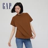 Gap女裝 純色舒適圓領短袖T恤 698548-暗棕色