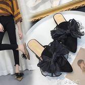 韓版蝴蝶結包頭拖鞋女夏外穿中跟涼拖懶人穆勒鞋半拖鞋女粗跟七夕特惠下殺