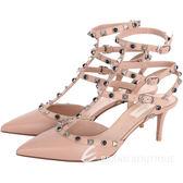 VALENTINO Rockstud Rolling雙鉚釘繫帶尖頭高跟鞋(膚色) 1710307-32