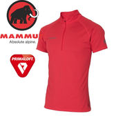 【MAMMUT Performance Dry Zip T-Shirt 男/L《岩漿紅》】1017-00440-3465/長毛象/Primaloft/半開襟排汗衣★滿額送