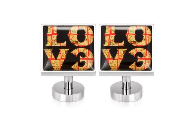不鏽鋼袖釦 - LOVE 愛 方形