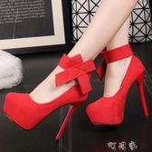 超高跟14cm性感蝴蝶結淺口圓頭夜店單鞋韓版絨面細跟女鞋 盯目家