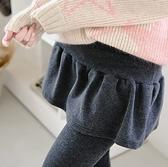 漂亮小媽咪 加厚磨毛假兩件托腹裙褲 【L1716XD】 孕婦托腹長褲 孕婦褲 孕婦裙褲 俏麗