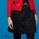 腰間格紋邊X前排裝飾釦短裙【AF2151】