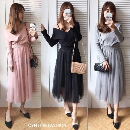 二件式套裝.Cynthia 星希亞.波浪針織毛衣+連身紗裙套裝(杏/粉/灰/黑)680【S8D0290】
