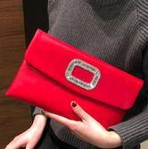 手拿包女新款時尚簡約手包鑲鑽個性婚宴包百搭側背信封小包潮 貝兒鞋櫃 全館免運