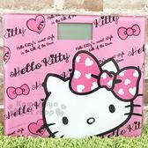 〔小禮堂〕Hello Kitty 電子體重計《粉.大臉.粉蝴蝶結.LOGO》高質感玻璃踏板 4710891-16334