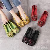淺口單鞋民族風真皮女鞋軟底平跟鞋舒適媽媽鞋花朵圓頭中跟豆豆鞋 時尚潮流