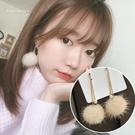 銀針耳環-S925銀針氣質毛球水貂毛耳針耳墬 (SRA0161) AngelNaNa