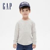 Gap男幼童 簡約風格純色圓領長袖T恤 617771-灰色