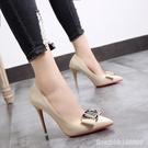 高跟鞋 春新款細跟超高跟鞋韓版單鞋女淺口尖頭扣飾低幫鞋工作鞋女鞋 瑪麗蘇