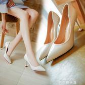夏季貓跟淺口尖頭高跟鞋時尚單鞋黑色職業工作鞋粉色婚鞋女鞋