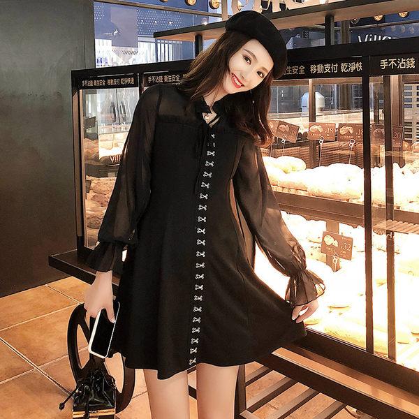 VK旗艦店 韓國風名媛氣質雪紡燈籠袖收腰顯瘦木耳領長袖洋裝