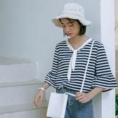 拼接領結短袖t恤女學生夏裝2020新款潮IG熱門款百搭喇叭袖撞色條紋上衣 居享優品