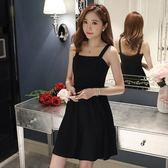 洋裝 新款夏季女裝收腰顯瘦黑色禮服短款裙子吊帶連身裙赫本小黑裙【回饋水水們】