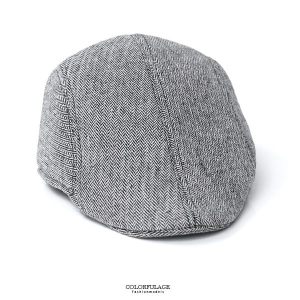 鴨舌帽 質感細斜紋淺灰扁帽NHG2