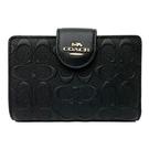 【COACH】新款浮雕C LOGO鈔票零錢袋中夾(浮雕黑)