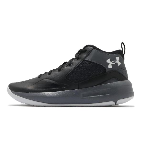 Under Armour 籃球鞋 UA Lockdown 5 灰 黑 男鞋 避震 中筒 運動鞋 男鞋【ACS】 3023949001