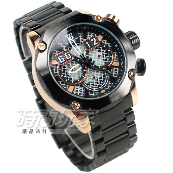 T5 sports time 粗曠 個性型男 三眼計時手錶 熟男Look 計時碼錶 防水 日期視窗 H3657玫黑
