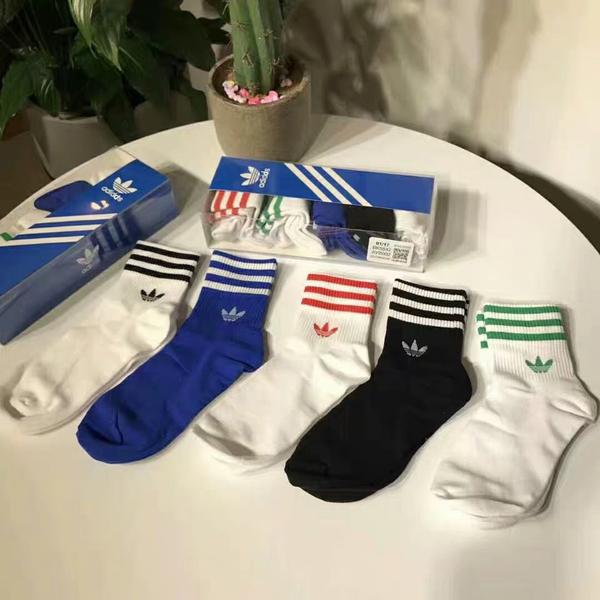 愛迪達 Adidas 三葉草 三槓男女運動襪5雙 中筒襪 短襪 隱形襪 腳踝襪 襪子 運動鞋 慢跑鞋/澤米