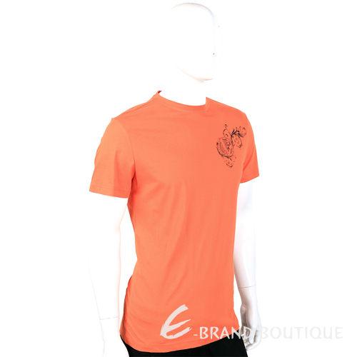 VERSACE T-Shirt 橘色圖騰裝飾短袖上衣 1410719-17