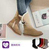 【快速出貨】韓系個性OL牛角扣拉鍊磨砂圓頭中筒靴/5色/35-40碼 (RX1143-9198) iRurus 路絲時尚