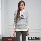【JEEP】女裝 美式休閒條紋長袖帽TEE (白)