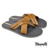 【marelli】經典交叉型男拖鞋 咖啡(MRS02-BR)