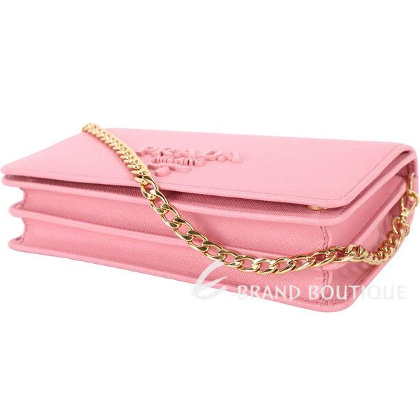 PRADA Saffiano 粉字金屬浮刻迷你雙層手拿/鍊帶包(玫瑰粉) 1820230-05