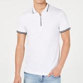 AX阿瑪尼拉鍊門襟短袖Polo(白色)