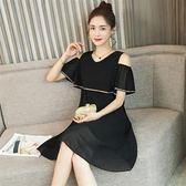 XL-5XL韓版休閒寬鬆連身裙25800/夏裝新款時尚v領喇叭袖a字裙氣質露肩荷葉邊連衣裙黑色皇潮天下