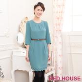 【RED HOUSE 蕾赫斯】燒花七分袖打褶洋裝(綠色)