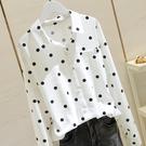 棉麻上衣波點白襯衫女2020春季韓版寬鬆顯瘦棉麻襯衣圓點長袖上衣D271交換禮物