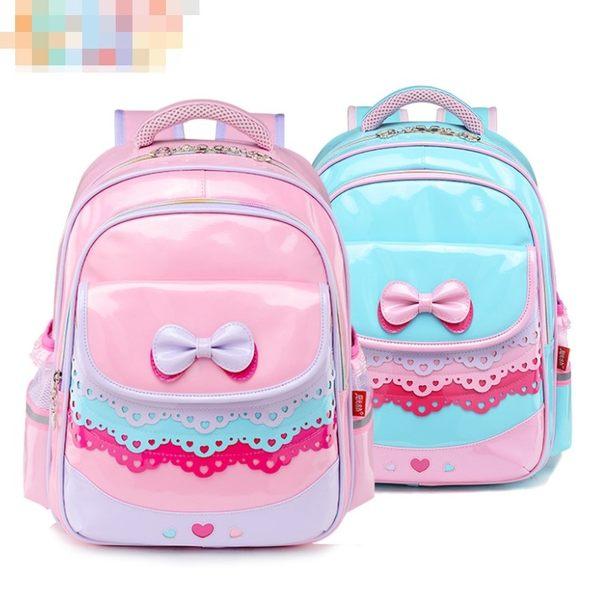預購-可愛蝴蝶結蕾絲漆皮夢幻雙肩後背書包(小款)
