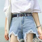 女皮帶寬簡約百搭韓版休閒圓扣腰帶針扣韓國復古裝飾牛仔褲帶學生 曼莎時尚