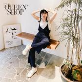 Queen Shop【04050573】簡約素色細肩棉麻連身褲 兩色售*現+預*