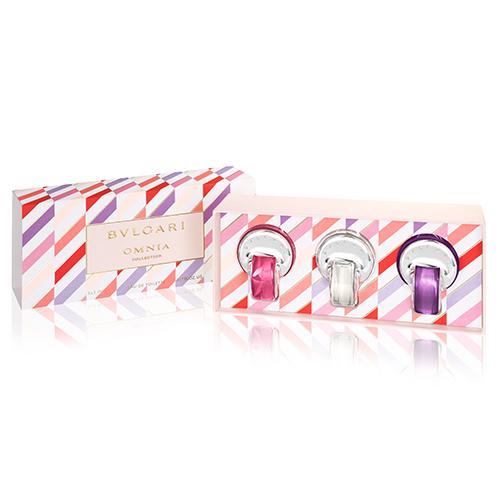 【BVLGARI 寶格麗】晶彩限量系列小香禮盒(5ml*3)(粉晶/晶澈淡香水/紫水晶)