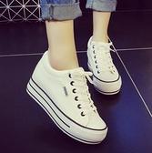 增高鞋 小白鞋春季女2020新款百搭學生休閑板鞋厚底帆布鞋子女